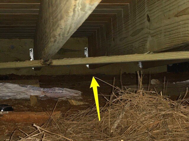 Home Inspection of an Alpharetta House with Deck Ledger board joist issue